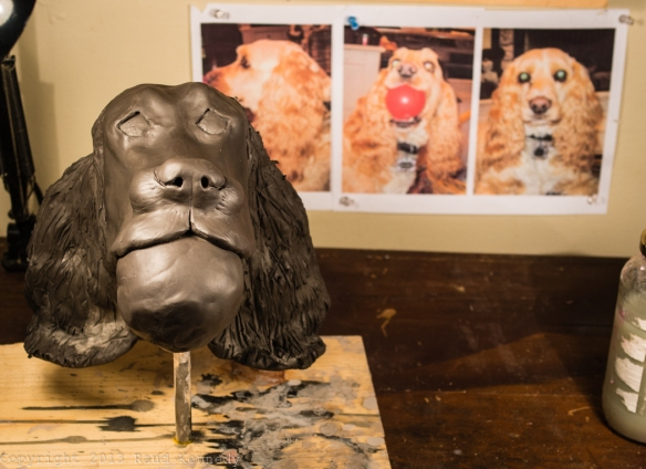 I'm experimenting making a ceramic dog from a series of mugshot photos.