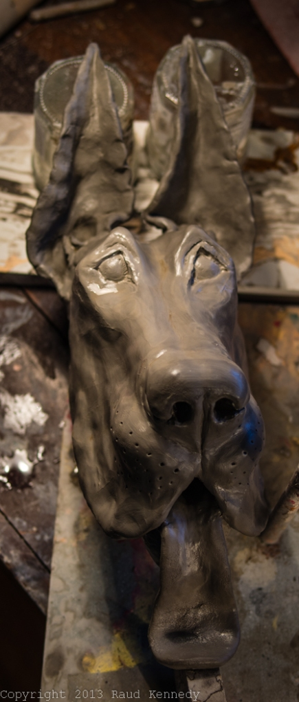 handbuilt ceramic dog sculpture - great dane 1