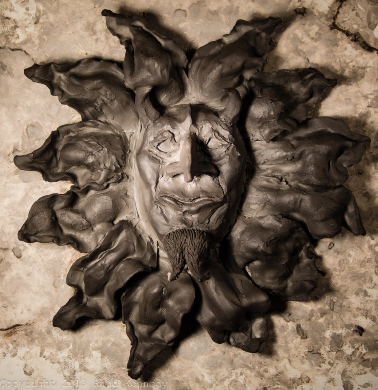 handbuilt ceramic sculpture devil flower