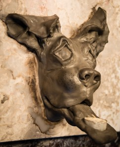 ceramic dog sculpture - boxer mix 1
