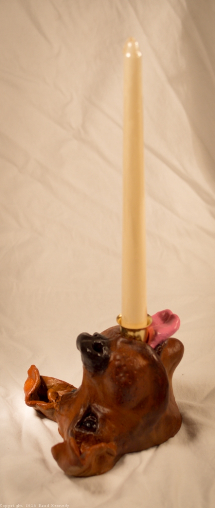 ceramic dog sculpture - candle holder 1