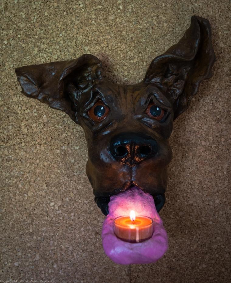 ceramic dog sculpture - candle sconce 1