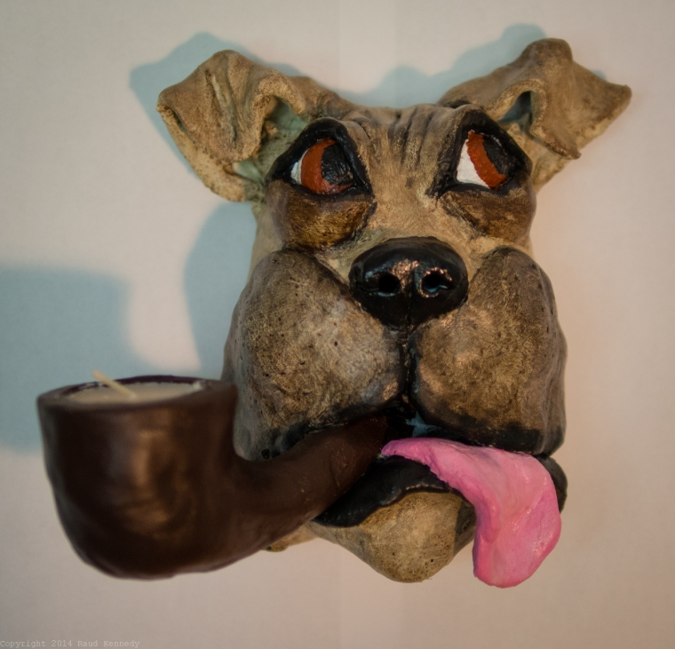 ceramic dog sculpture - pipe 1