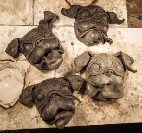 ceramic dog supltures - pugs