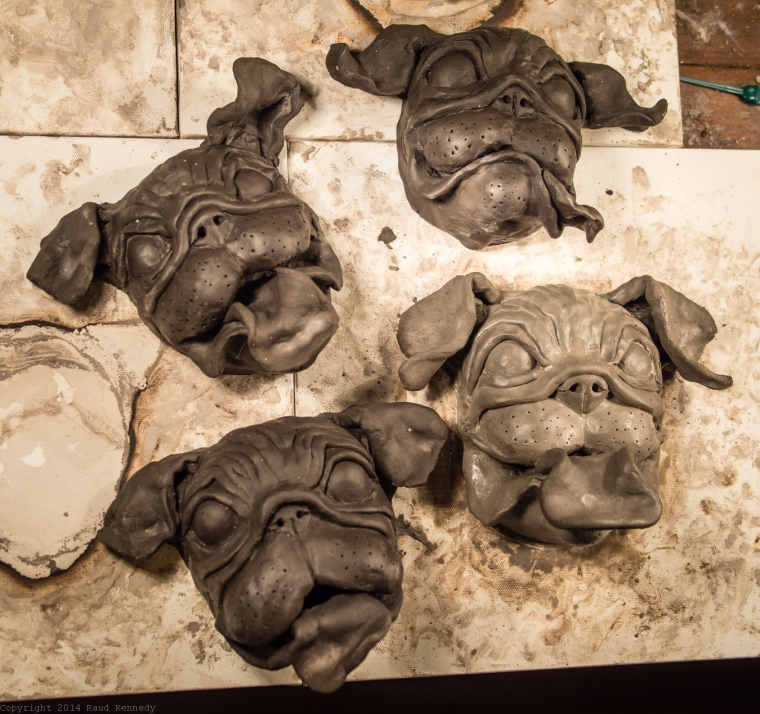 ceramic dog supltures - pugs