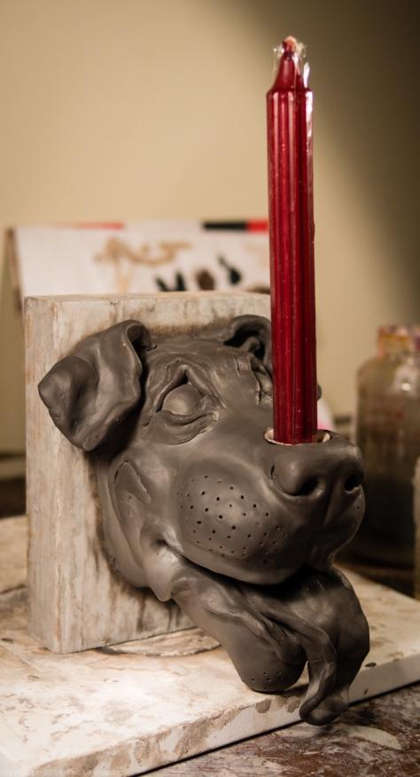 wall mounted dog candle holder