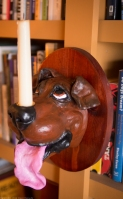 dog candle sconce - brown dog 1