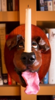 dog candle sconce - brown dog 2