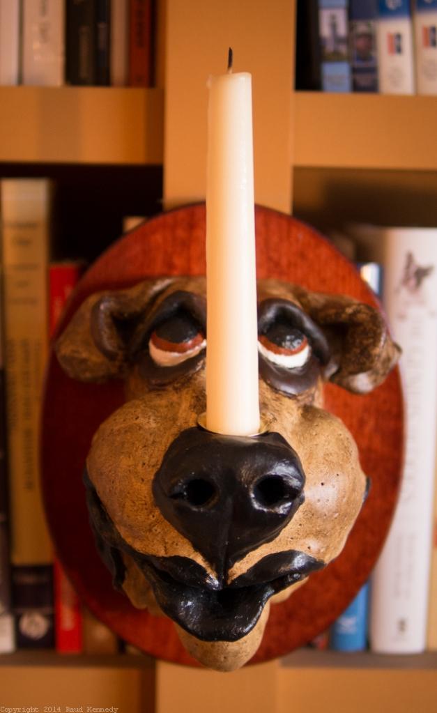 dog candle sconce - buff dog 2